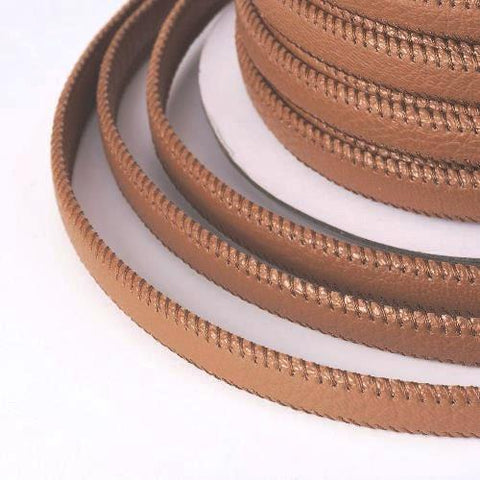 10mm Wide Flat Stitched Camel Brown PU Leather Cord from rebelroad.co.za for the biggest choice in bracelets and leather cord