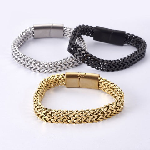 Buy chain bracelets for men like the 10mm Wide Flat Wheat Chain Bracelet in Gold, silver or Gunmetal from Rebelroad.co.za
