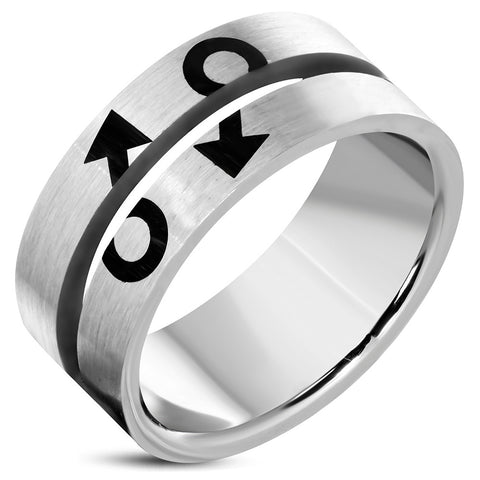 10mm Stainless Steel 2-Tone Male symbol Gender Pride Flat Band Ring - Rings - Rebelroad.co.za