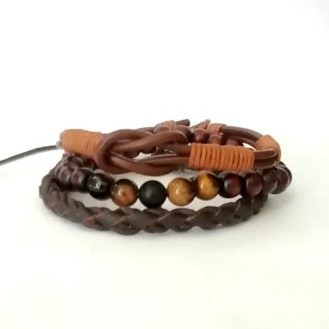 Brown Casual Trio Bracelets