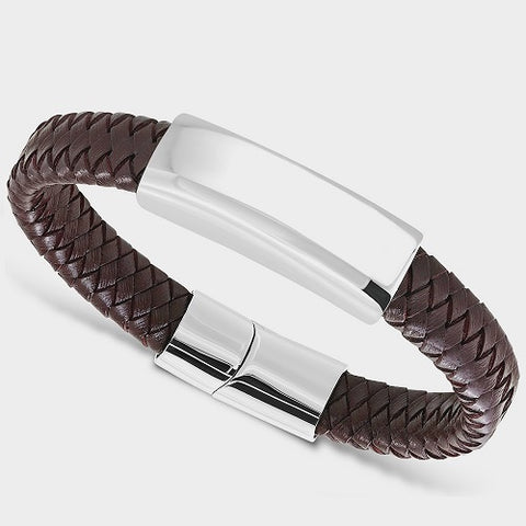 12mm Brown Braided Leather Bracelet with Engravable Oblate Cover from Rebelroad.co.za, great personalised gifts online in South Africa