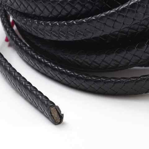 Black Oval Cowhide Braided Bolo Leather Cord -5mm*10mm