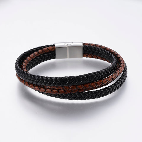 4 Strand Black & Brown Bolo & Braided Leather Bracelet