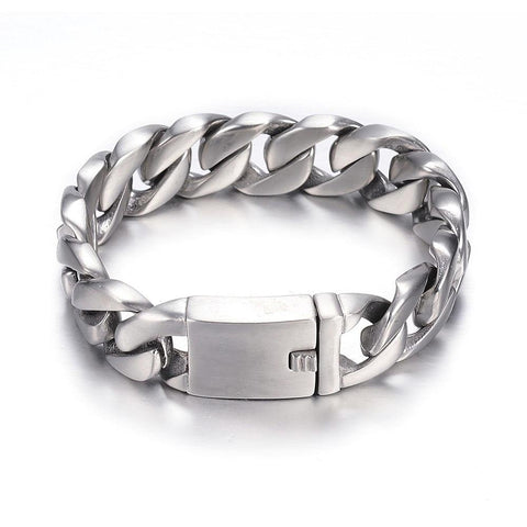 17mm Wide MATTE BRUSHED Curb Chain Box Clasp Bracelet