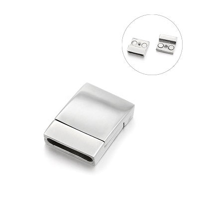 15*3mm Wide Matte Rectangular Stainless Magnetic Clasp