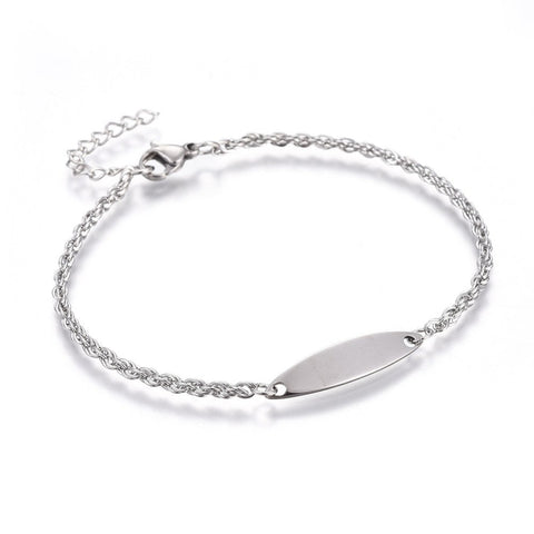2mm Rope Chain Oval Engravable ID Plate Bracelet
