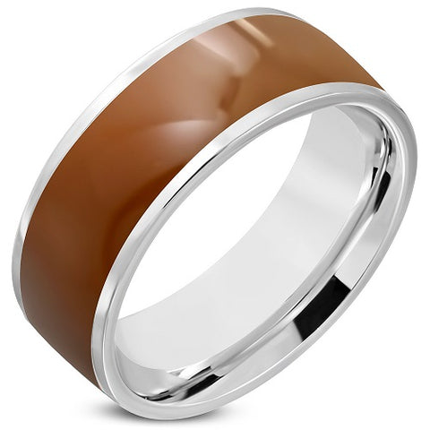 2-Tone Brown Enameled Comfort Fit Half-Round Band Ring - Rings - Rebelroad.co.za