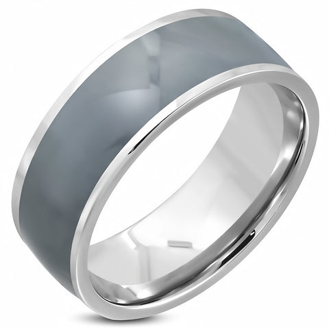 2-Tone Grey Enameled Comfort Fit Half-Round Band Ring - Rings - Rebelroad.co.za