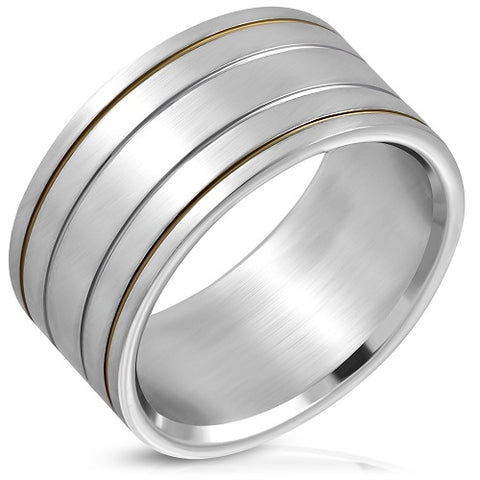2-Tone Grooved Wide Flat Band Ring - Rings - Rebelroad.co.za