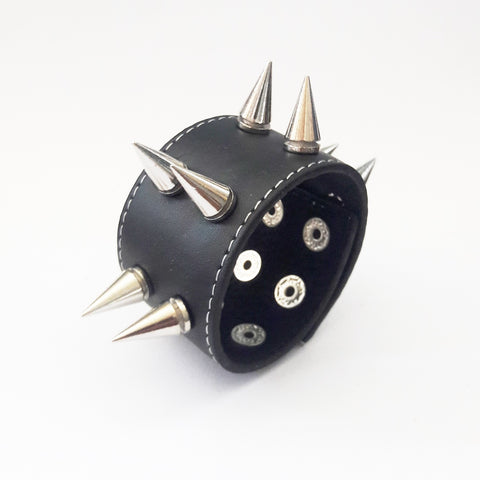 Wide Punk Goth Bracelet Spike - Bracelets - Rebel Road