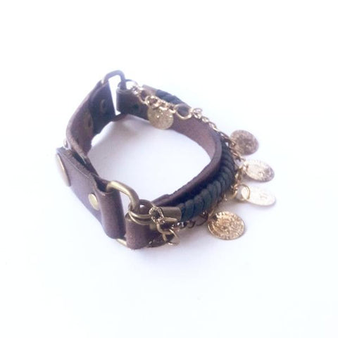 Brown Leather chain and Rope Bracelet - Bracelets - Rebelroad.co.za