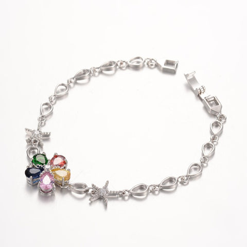 Multi Colour Zirconia Flower Bracelet - Bracelets - Rebelroad.co.za