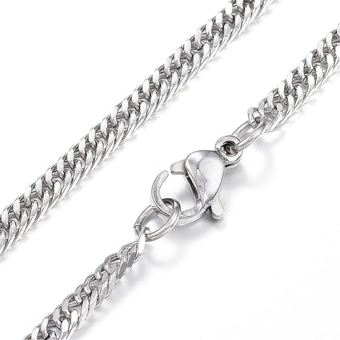 3mm Silver Steel Curb Chain Necklace