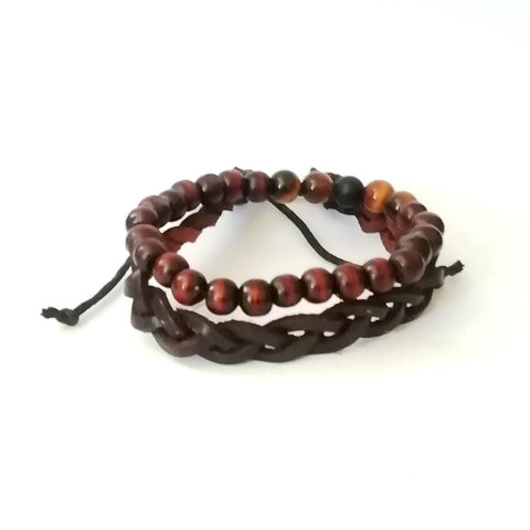 2 Set Leather and Tiger Eye with Wood Bracelets
