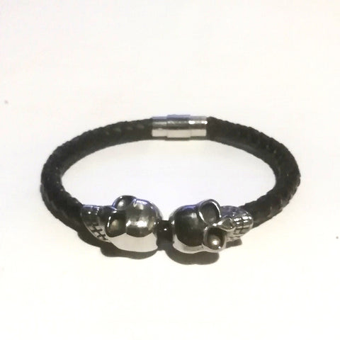 2 Skulls on Braided Leather Cord Bracelet - Bracelets - Rebel Road