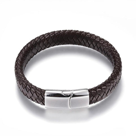 Brown Premium Braided Leather Cord Bracelet - Bracelets - Rebelroad.co.za