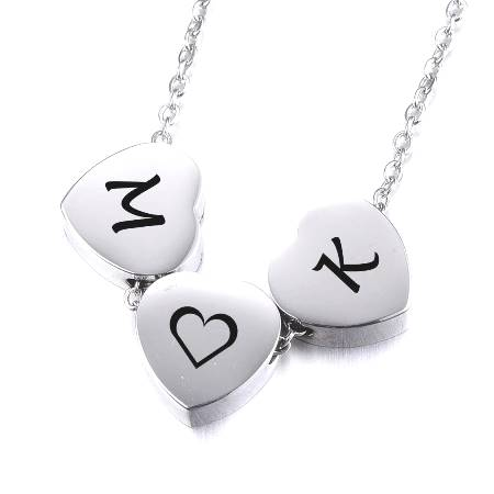 3 Heart Silver Engravable Pendant Necklace