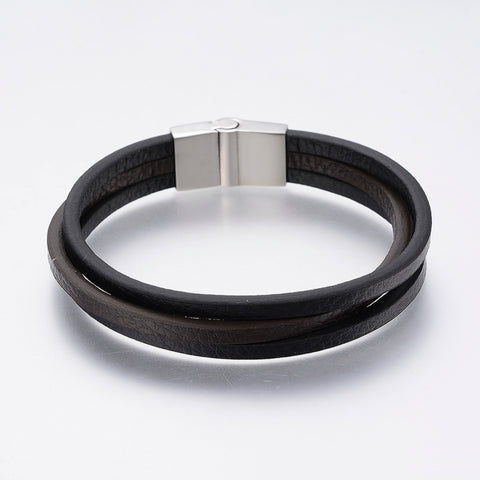 3 Cord Black & Brown Narrow Leather Bracelet - Bracelets - Rebelroad.co.za