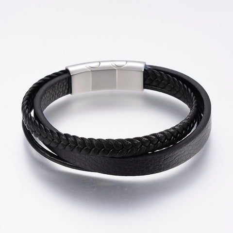 3 Mixed Black Cord Leather Bracelet - Bracelets - Rebelroad.co.za