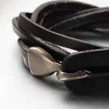 3-Loop Cowhide Leather Wrap Bracelets