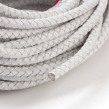White Braided Bolo Leather Cord -6mm