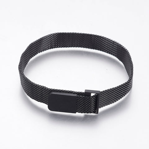 10mm Wide Gunmetal Mesh Chains Bracelets