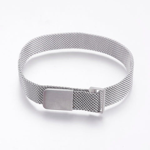 10mm Wide Silver Mesh Chains Bracelet