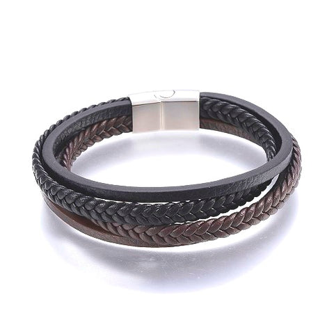 4 Strand Black & Brown Stacked Leather Bracelet
