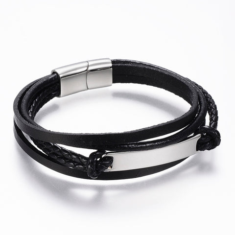 4 Stacked Black leather ID Plate Bracelet - Bracelets - Rebelroad.co.za