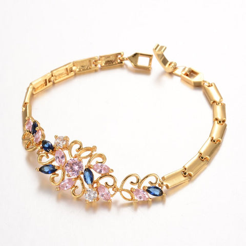 Long Flower Golden Zirconia Bracelet - Bracelets - Rebelroad.co.za