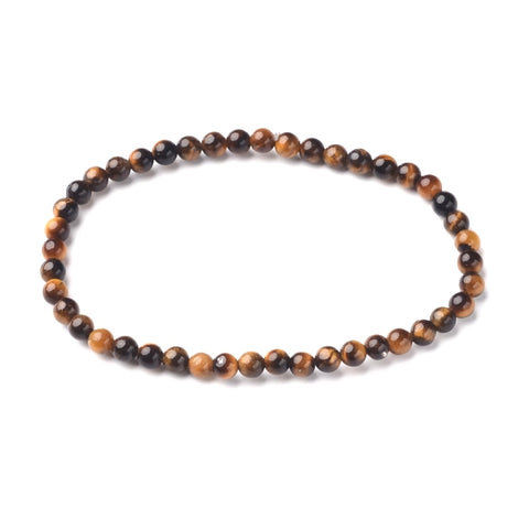 4mm Round Natural Tiger Eye Bead Bracelet