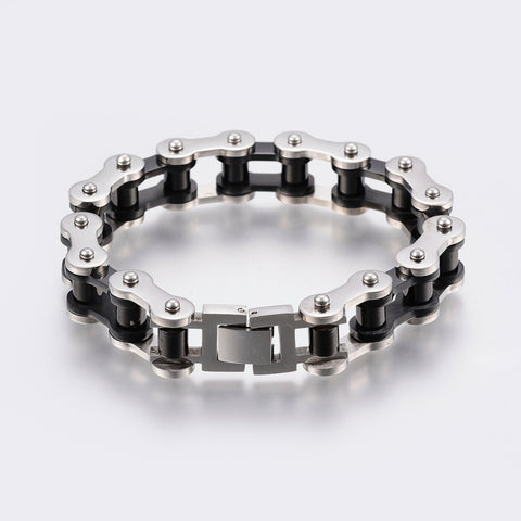 15mm Gunmetal and Silver Bicycle Chain Bracelet