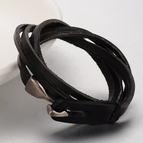 3 loop black cowhide leather wrap bracelet