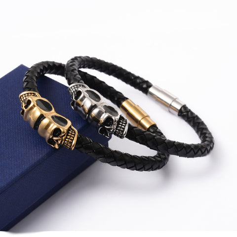 Skull and Leather Bracelet - Bracelets - Rebel Road