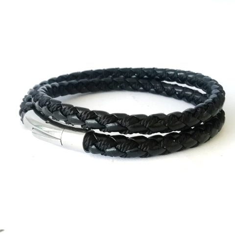 5mm Black Leather & Fabric  Double Wrap Bracelet