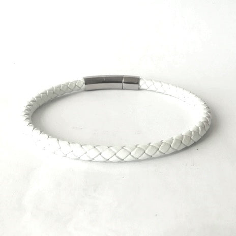 5mm White Round Leather & Curved Bayonet Clasp Bracelet
