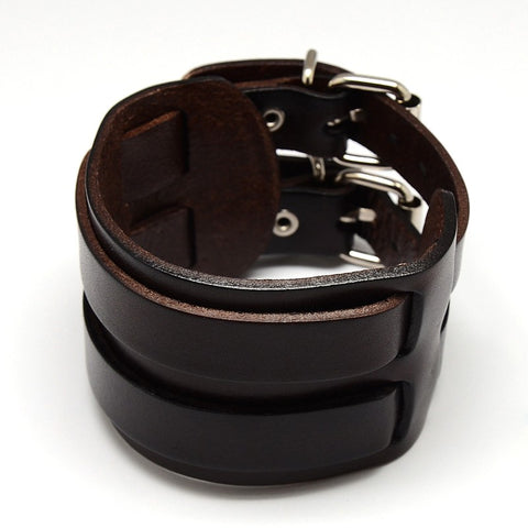 Double Layer Wide Brown Leather Bracelet