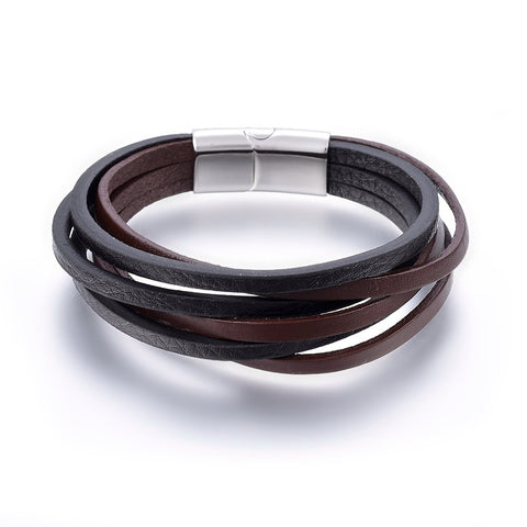 6 Cord Black & Brown Leather Bracelet - Bracelets - Rebelroad.co.za
