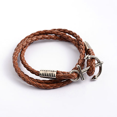 Brown Braided Wrap Anchor Bracelet - Bracelets - Rebel Road