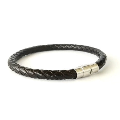 6mm Black Round Leather & Pin Barrel Bracelet