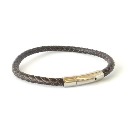 6mm Coffee Brown Round Leather & Curved Bayonet Clasp Bracelet