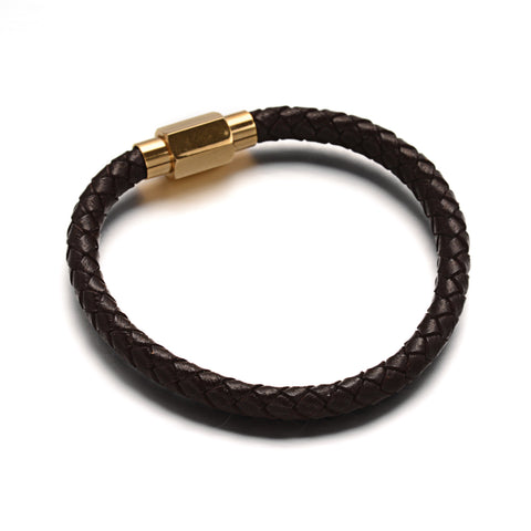 6mm Brown Bolo Leather Bracelet & Golden Clasp - Bracelets - Rebelroad.co.za