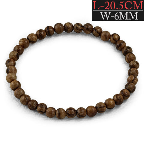 6mm Natural Wooden Beads Stretch Bracelet - Bracelets - Rebelroad.co.za