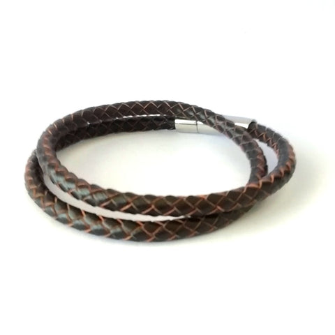 5mm Coffee Brown Double Wrap Leather Bracelet