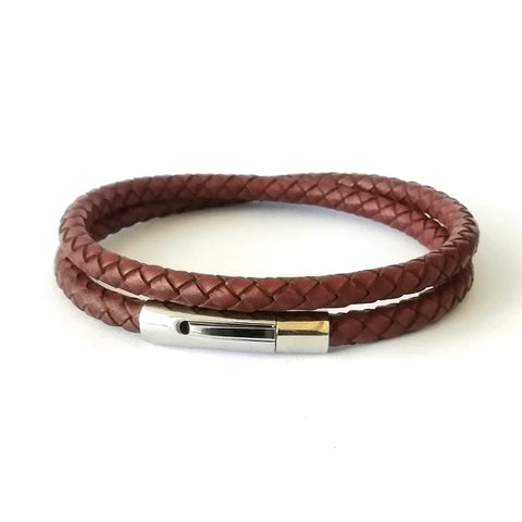 5mm Sienna Brown Double Wrap Leather Bracelet