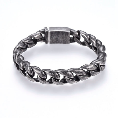 13mm Wide Industrial Curb Chain Box Clasp Bracelet