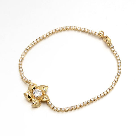 Golden Flower Cup with Zirconia - Bracelets - Rebel Road
