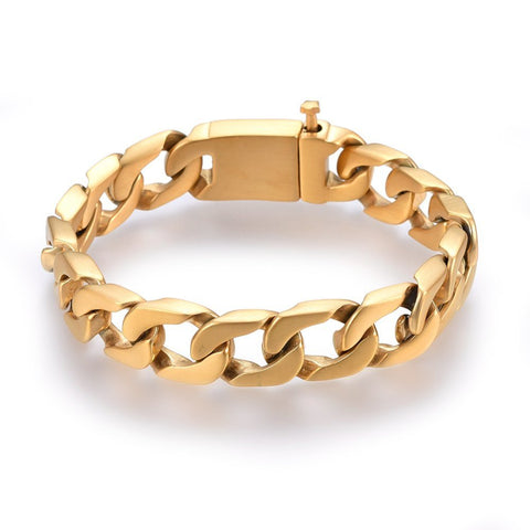 14mm Brushed Golden Curb Chain Bracelet