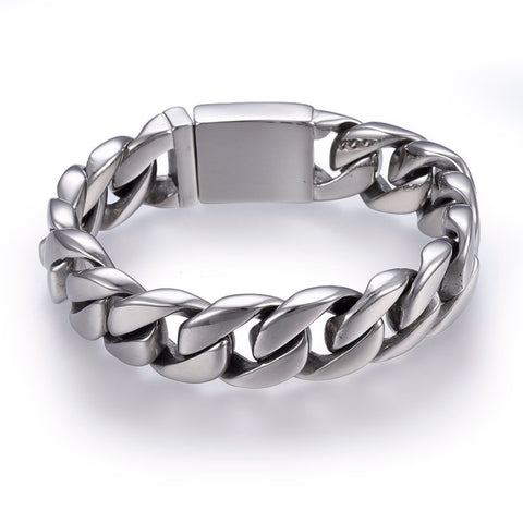 17mm Wide Polished Curb Chain Box Clasp Bracelet