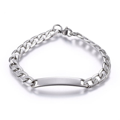 7mm Curb Chain Engravable ID Plate Bracelet